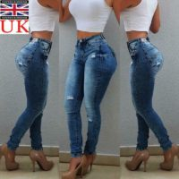 Women High Waist Ripped Denim Casual Skinny Stretch Jeans Slim Trousers Pants UK