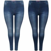 WOMENS HIGH WAISTED STRETCHY SKINNY JEANS LADIES JEGGINGS PANTS PLUS SIZE 8 - 26