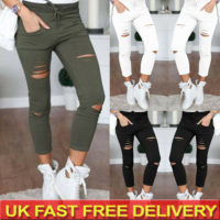 Plus Size Womens Ripped Denim Jeans Pants Ladies Skinny Casual Jeggings Trousers