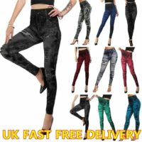 Womens Denim Look Stretchy Leggings Skinny Jeggings Jeans Look Trousers UK Size