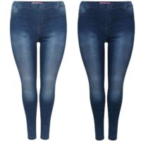 WOMENS HIGH WAISTED STRETCHY SKINNY JEANS LADIES DENIM JEGGINGS PANTS PLUS SIZE