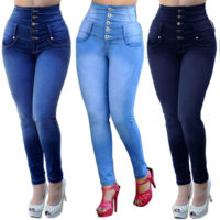 Womens Skinny High Waisted Jeans Stretchy Denim Pants Jeggings Legging Trousers
