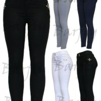 Ladies Womens New Diamante Black White Blue Stretchy Jeans Jeggings Leggings