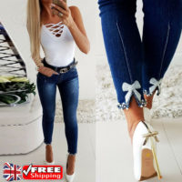 Women High Waist Denim Jeans Pants Ladies Lace Skinny Jeggings Stretchy Trousers
