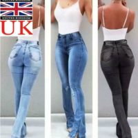 Womens High Waist Flared Jeans Casual Stretch Skinny Denim Trousers Pants UK