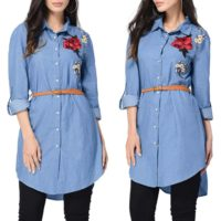 Women Buttons Long Sleeve Denim Shirts Jeans Casual Tunic Tops Blouse Mini Dress