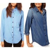 Womens Ladies Front Pocket Slim Denim Long Sleeve Buttons Down Outwear Shirt Top
