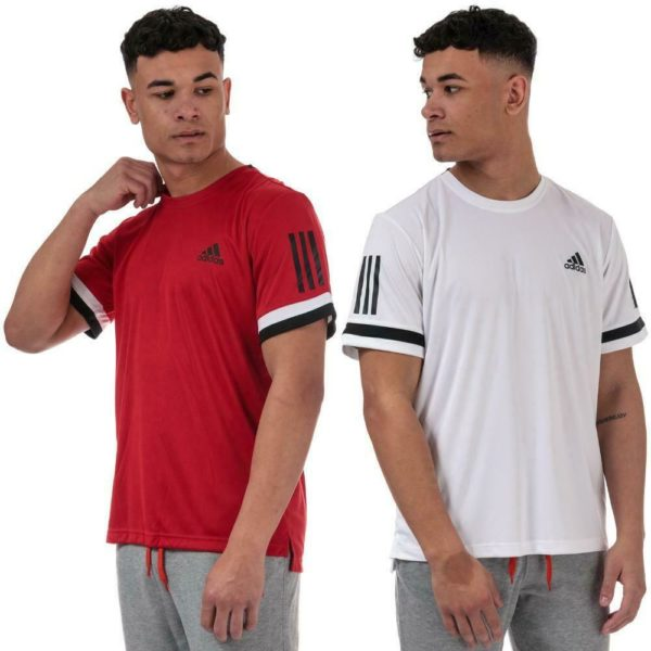 Mens adidas 3-Stripes Club T-Shirt in White and Red