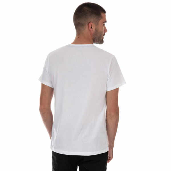 Mens Timberland Core Front Logo T-Shirt In White- Short Sleeve- Ribbed Collar-