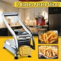 Stainless Steel Potato Chipper Cutter Chopper Slicer French Fry Chip W/ 2 Blades