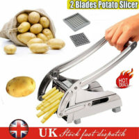 Stainless Steel Potato Chipper Cutter Chopper Slicer French Fry Chip + 2 Blades