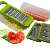 Neat Ideas Grate & Store Grater - 3 Interchangeable Blades 2 Storage Containers