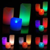 3 x Colour Changing Flickering Flameless Led Wax Mood Candles Battery Operated