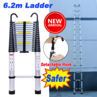 6.2m Portable Heavy Duty Multi-Purpose Aluminium Telescopic Ladder Extendable A+
