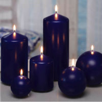 NAVY BLUE CLASSIC CANDLES. Pillar and Ball decorative candles in various sizes