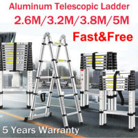 2.6-6.2M Telescopic Ladder Multi-Purpose Extendable Step Aluminium Folding EN131