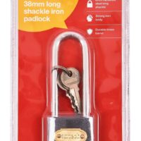 Heavy Duty Cast Iron Padlock Long 38Mm Outdoor Safety Security Shackle Lock